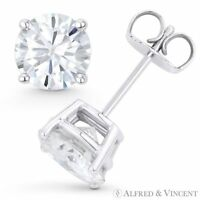 Round Cut Forever Classic Moissanite 4P Pushback Stud Earrings in 14k White Gold