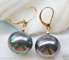 HUGE Lustrous 20MM ROUND PEACOCK BLACK SOUTH SEA SHELL PEARL DANGLE EARRING