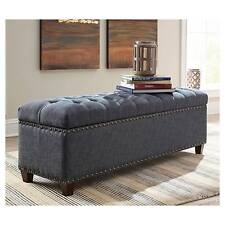 Donny Osmond Home 500457 Fabric Accents Indigo Storage Bench With Nail Head  Trim