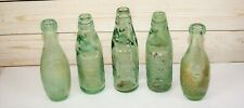 5 x Antique Codd Neck + Glass Marble & Other Aqua Glass Bottles inc Schweppes