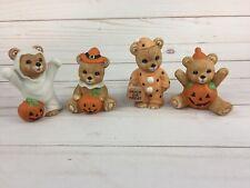 4 Homco Halloween Bears Home Interior Figurines #5311 Ghost Pumpkin
