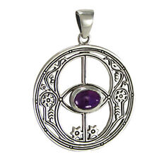 Sterling Silver Chalice Well Avalon Mystical Pendant Amethyst Gemstone Jewelry
