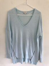 🎈 WITCHERY Aqua Sky Blue ANGORA blend Knit Jumper Zipper High Low Loose S 10