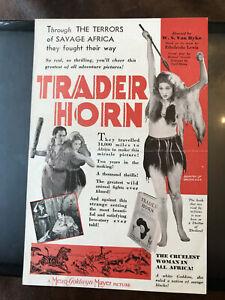 "Trader Horn 1931 MGM 6x9"" jungle herald Edwina Booth Harry Carey Duncan Renaldo"
