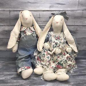 Handmade Primitive Muslin Floppy Ears Country Bunny Rabbit Mr. & Mrs. & Babies