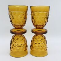Dark honey Color VINTAGE INDIANA AMBER GLASS COLONY CUBIST FOOTED 4 TUMBLERS