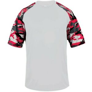 Badger Youth Camo Sport T-Shirt WHITE | SCARLET SM