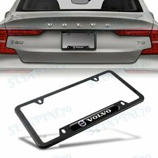 New 1PCS For VOLVO Black Stainless Steel Metal License Plate Frame