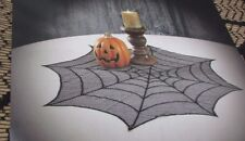 "Halloweeen Spider Web Black Mesh Lace Table  Topper 30"" Dia"