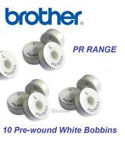 BROTHER PR RANGE EMBROIDERY PRE WOUND BOBBIN THREAD WHITE SIDED L - 120m x 10