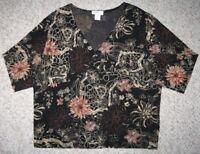 Carducci Black Beige Shirt Long Sleeve 2X Acetate Blend Women's Floral V-Neck