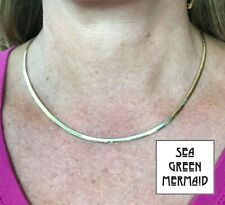 10k Reversible Yellow & White Gold OMEGA CHAIN Adjustable Necklace.**KINKS**-b17