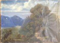 ::ROMANTIKER BIEDERMEIER UM 1860 ALPEN ZUM RESTAURIEREN ANTIK LANDSCHAFT ÖLBILD