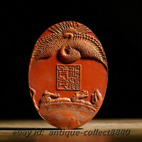 8*2.8cm Collect Chinese Cinnabar Ink HuiMo Inkstick Ink Block Phoenix Landscape