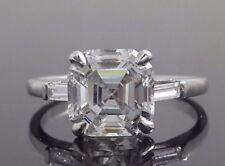 2ct Asscher Baguette Cut Three Stone 925 Sterling Silver Engagement Women's Ring