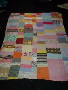 "Vtg Hand Stitched Quilt **TLC** Novelty & Feedsack Fabrics 2 Sided 70"" x 92"""