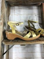 Dansko Gold Tan Strappy Heel Sandal Women size 38 US 7.5-8