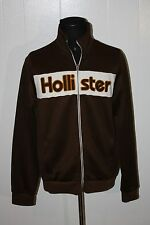 Hollister Brown White Sewn Script Full Zip Track Jacket XL