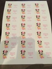 21 Baby Minnie Mouse Personalised Party Bag Stickers Favour Labels