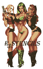Multilayer airbrush stencil Harley quinn catwoman poison ivy
