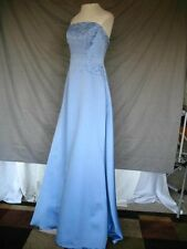 Vintage Formal Prom Satin Dress Pale Blue Strapless Size 7/8 Mori Lee