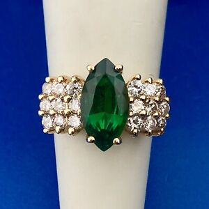Designer 14K Yellow Gold Emerald Diamond Waterfall Dome May Cocktail Ring