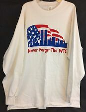 Never Forget The World Trade Center White LS T Shirt Large USA 9-11