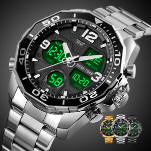 SKMEI Mens Sports Watches Army Analogue Digital Stainless Steel Waterproof Watch
