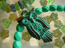 """Green Patina """"Eule der Weisheit""""-Anhänger- verkupferte Greek-Keramik- 15x30mm -"""