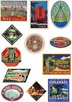 Vintage Style Travel Suitcase Luggage Labels Set Of 12 vinyl stickers set 4