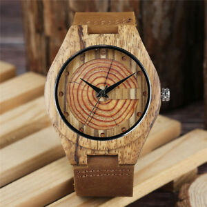 Wooden Watch Mens Genuine Leather Band Wood Bamboo Quartz Men Watches Sport Gift