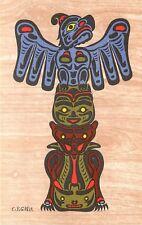 "British Columbia Kwakiutl Indian Art Motif Postcard by C.B.Greul, ""Totem Pole"""