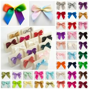 5cm Satin Bows -  Self Adhesive Pre Tied Sticky 16mm Ribbon Bow Wedding Craft