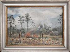 "Antique Oil Painting, Beautiful American Homestead ""Bonfire"" Signed ""Piepenburg"""