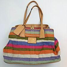 Coach Purse Satchel Bag Hamptons Archive 10th Anniversary Canvas Stripe 13487