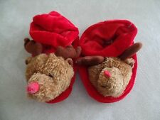 boys girls unisex CHRISTMAS REINDEER SLIPPERS red elf shoes CUTE 18-24 MONTHS