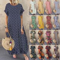 ZANZEA Women Summer Floral Polka Dot Short Sleeve Loose Casual Kaftan Long Dress
