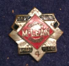 """VTg '70's  Mclean Trucking Co Safe Driving Pin Screw Back Threaded 7/8"""" 4th Yr"""