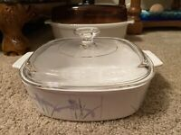 Vintage Corning Ware 2 Quart Shadow Iris Casserole Dish  A-2-B With Pyrex Lid
