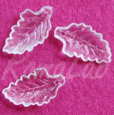 11 CHARMS foglie in acrilico trasparente CIONDOLI PENDENTI charm plastica natura