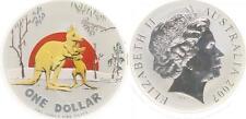 Australien 1 Dollar Silber, 1 Unze, 2007 Känguru, in Kapsel, Farbmünze, selten!