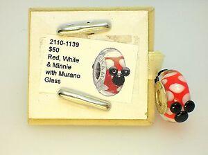NEW DISNEY CHAMILIA MINNIE RED & WHITE MURANO GLASS STERLING CHARM ~RETIRED~