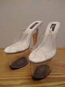 "PLEASER Clear Fillable Sole 7.25"" Platform Stiletto Heels Exotic Dancer sz 8 EXC"