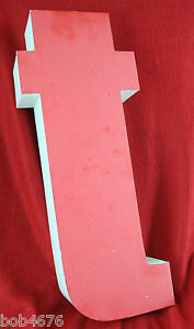 "USED 20"" x 8.25"" Industrial Letter LOWER CASE ""t""  Aluminum Red & White Box Type"