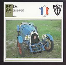 1927 1928 1929 BNC Grand Sport France Car Spec Sheet Photo Info ATLAS CARD