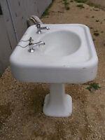 Very Old Pedestal Sink from Victorian home 20's 30's ???Bird Bath??