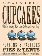 Beautiful Cupcakes Metal Wall Sign Vintage Retro Kitchen Chic Plaque 15x20cm New