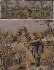 Vintage Tapestry Victorian couple scene love Unmarked, France Belgium Italy? Art