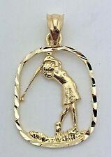 14k Yellow Gold Solid Diamond-Cut Women Playing Golf Charm Pendant 1.9g