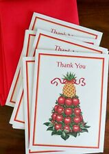 """Set of 8 """"Hospitality"""" THANK YOU CARDS ~ Colonial Willamsburg Pineapple/Apple"""